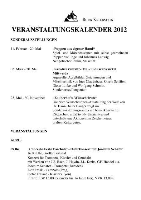 VERANSTALTUNGSKALENDER 2012 - Burg Kriebstein