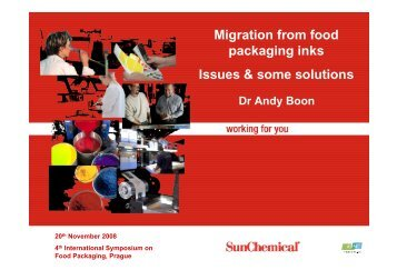 Migration from food packaging inks Issues & some solutions