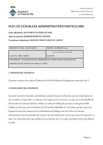 plec de clàusules administratives particulars - Ajuntament de Pineda ...