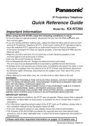 Model No. KX-NT265 - Operating Manuals for Panasonic Products ...