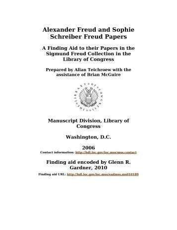 Alexander Freud and Sophie Schreiber Freud Papers - Library of ...