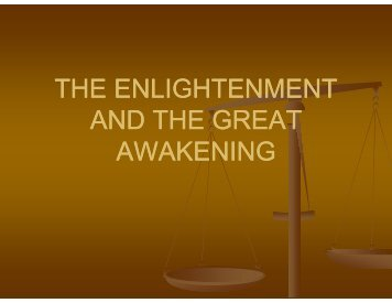 The enlightenment and the great awakening - mr.