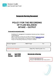 policy for the recording of fluid balance/ intake – output