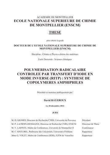 synthese de copolymeres amphiphiles - Ecole nationale supérieure ...