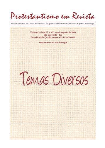 Protestantismo em Revista, volume 16 (Ano 07, n.2) - Faculdades EST