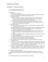 GHIDUL DE STUDIU Disciplina - Genetică medicală ... - UMF