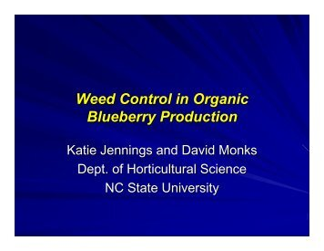 Weed Control in Organic Blueberry Production
