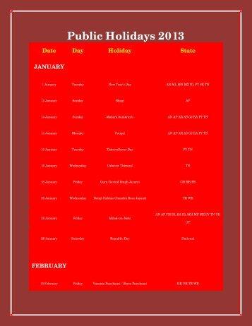 Public Holidays 2013