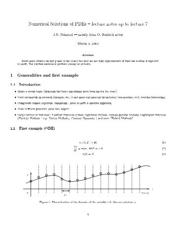 Numerical Solutions of PDEs - lecture notes up to lecture I J.N. ...