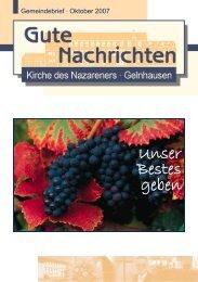 Gute Nachrichten Oktober (PDF, 0,99 MB) - Kirche des Nazareners