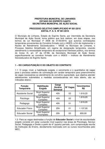 edital processo seletivo simplificado nº 001/2010 - Linhares