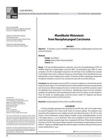 Mandibular Metastasis from Nasopharyngeal Carcinoma - PSO-HNS