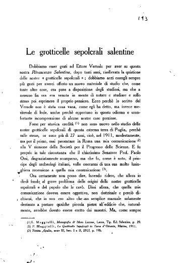 Le grotticelle sepolcrali salentine - culturaservizi.it