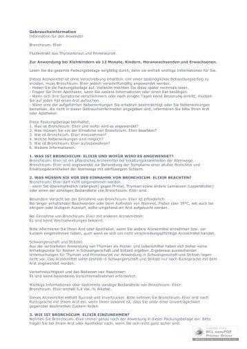 Gebrauchsinformation - Apotheke im Lyzeum eK