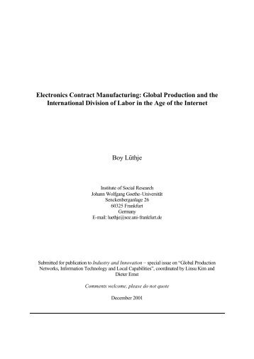 Electronics Contract Manufacturing: Global Production and the ...