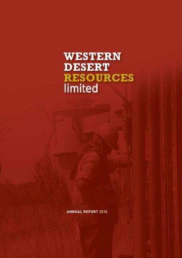 view - Western Desert Resources