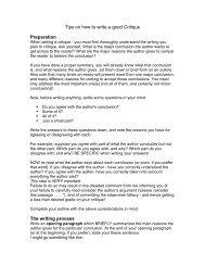 Tips on how to write a good Critique Preparation The ... - Kslinker.com