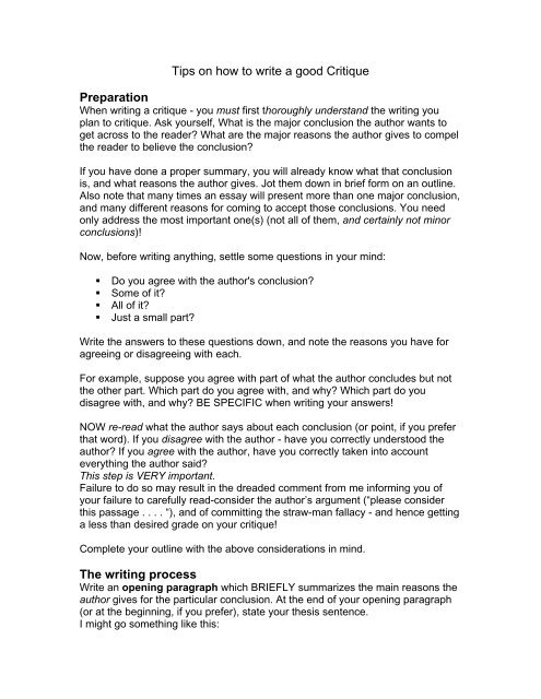 Tips on how to write a good Critique Preparation The