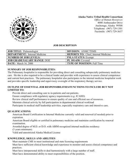 JOB DESCRIPTION JOB TITLE: Pulmonologist DIVISION     - ANTHC