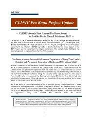 CLINIC Pro Bono Project Update - Catholic Legal Immigration ...
