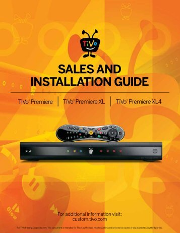 SALES AND INSTALLATION GUIDE – TiVo Premiere