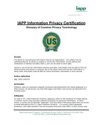 Glossary of Common Privacy Terminology - International ...