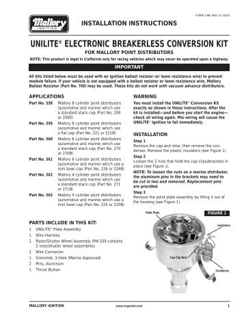 Mallory 558 Ignition Conversion Kit Installation Instructions - Jegs