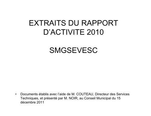 Extraits du rapport d'activité 2010 - SMGSEVESC