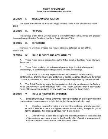 Tribal Rules of Evidence - Saint Regis Mohawk Tribe