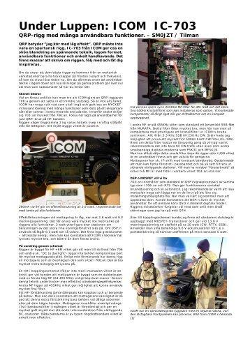 Under Luppen: ICOM IC-703 - SM0JZT