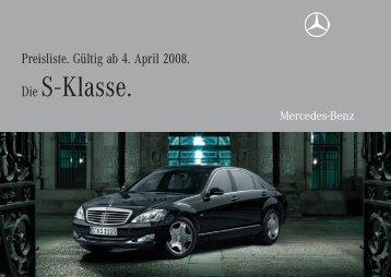 Die S - Klasse. - Preislisten