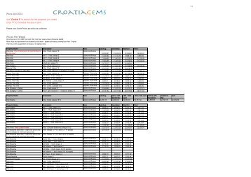 prices 2011 - Croatia Gems