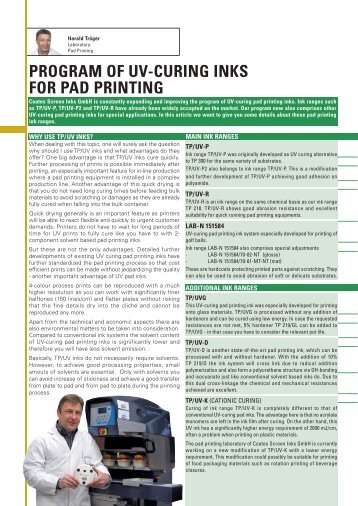 Program of UV-curing Inks for Pad Printing - Coates Screen
