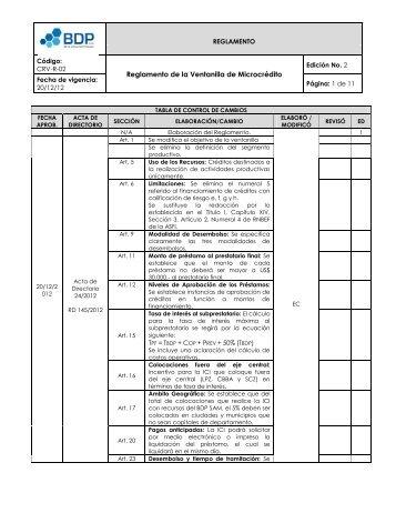 Reglamento de la Ventanilla de Microcrédito - Banco de Desarrollo ...