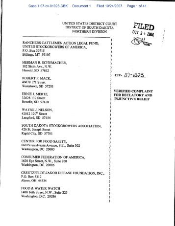 Case 1:07-cv-01023-CBK Document 1 Filed 10/24/2007 Page 1 of 41