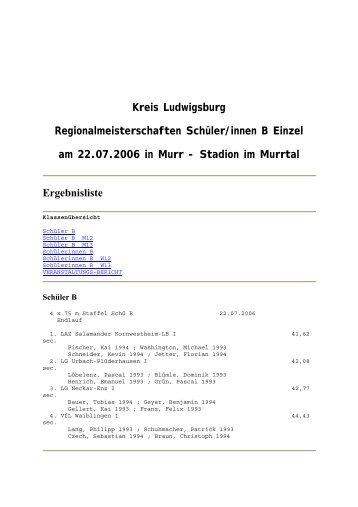Kreis Ludwigsburg Regionalmeisterschaften Schüler/innen B Einzel ...
