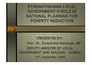Strengthening local government's role in national planning for ...