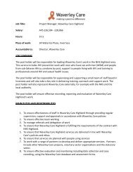 Job Description and Person Specification - Waverley Care