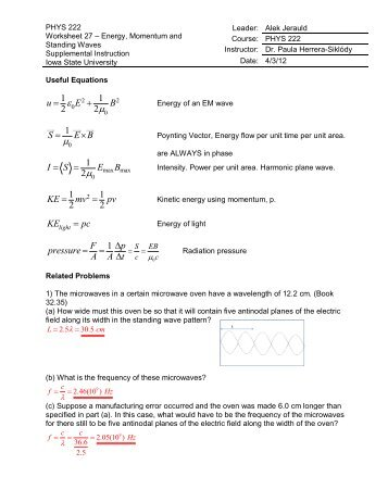 Phys 222 Worksheet 27 Energy Momentum And Standing Waves