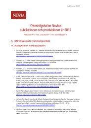 Publikationer och produktioner 2012 - Yrkeshögskolan Novia