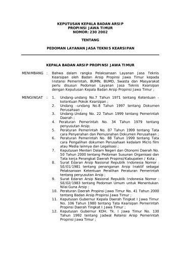 Keputusan Kepala Badan Arsip Propinsi Jawa Timur Nomor 230 ...