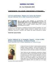Agenda culturel du 3 au 10 décembre 2012 - Lycée Lyautey