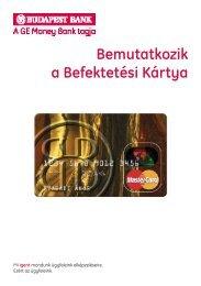 Bemutatkozik a Befektetési Kártya - Budapest Bank