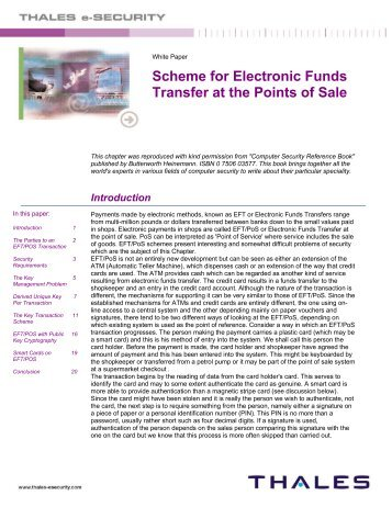 Scheme for Electronic Funds Transfer at the Points of Sale