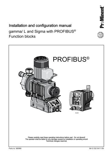 gamma/ L and Sigma with PROFIBUS - ProMinent