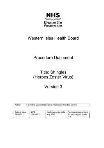 Shingles _Herpes Zoster Virus_ V2 - NHS Western Isles
