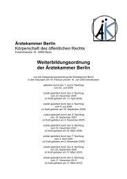 Weiterbildungsordnung inkl. 1. bis 9. Nachtrag - Ärztekammer Berlin