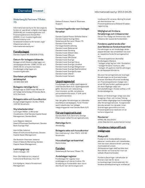 Fondbolaget Uppdragsavtal Förvaringsinstitutet ... - Danske Invest