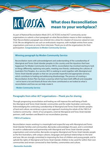 What does Reconciliation mean to your workplace? - ACT Council of ...