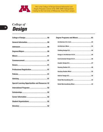 Design - University Catalogs - University of Minnesota
